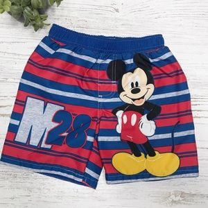 Mickey Mouse Toddler Boy Red/Blue Swim Trunks
